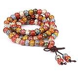 Tibetan Buddhist Vintage Style 108 Beaded Bracelet Mix Color Porcelain Prayer Beads Wrist Meditation Mala Bracelet LS082