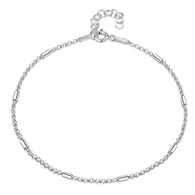 925 Fine Sterling Silver Naturally Adjustable Anklet - 3 mm Heart Chain Ankle Bracelet - up to 10