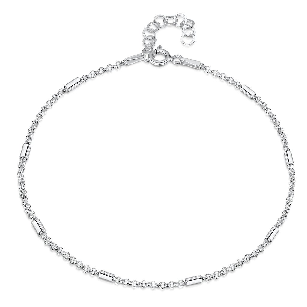 925 Fine Sterling Silver 1.4 mm Adjustable Anklet - Belcher Rolo Chain with Tubes Ankle Bracelet - 9'' to 10'' inch - Flexible Fit by Amberta (Image #1)