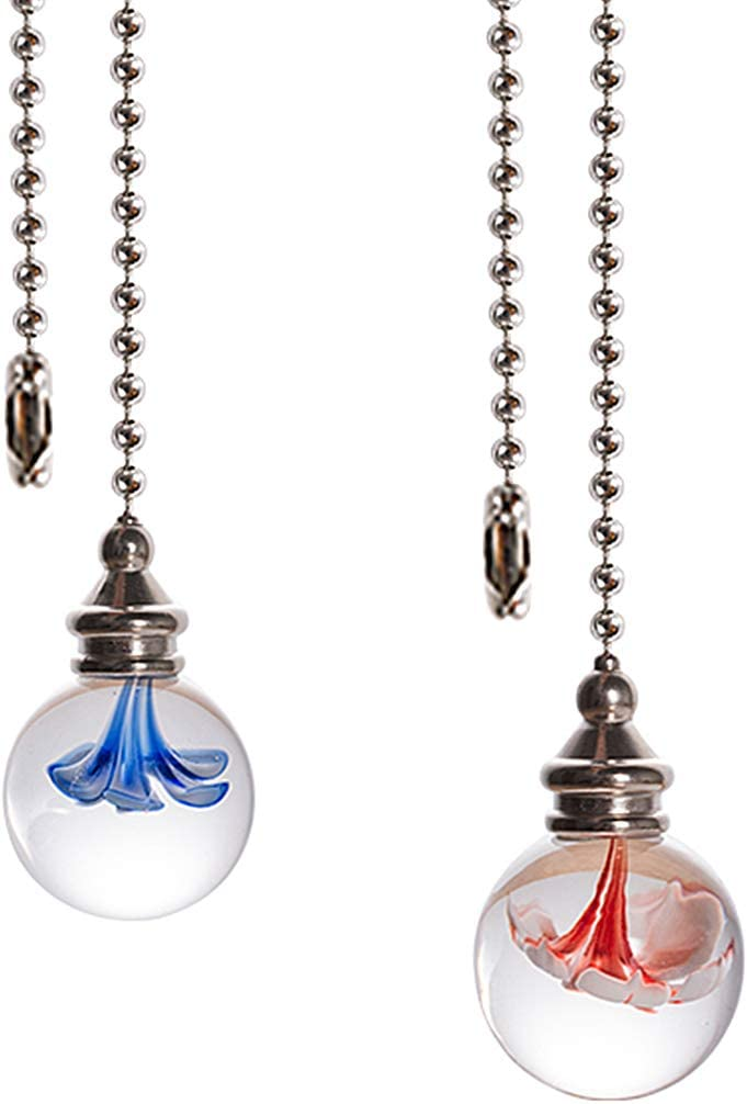 Crystal Ceiling Fan Pull Chains Hanging Flowers Pendants Prism Pack Of 2 Light Blue