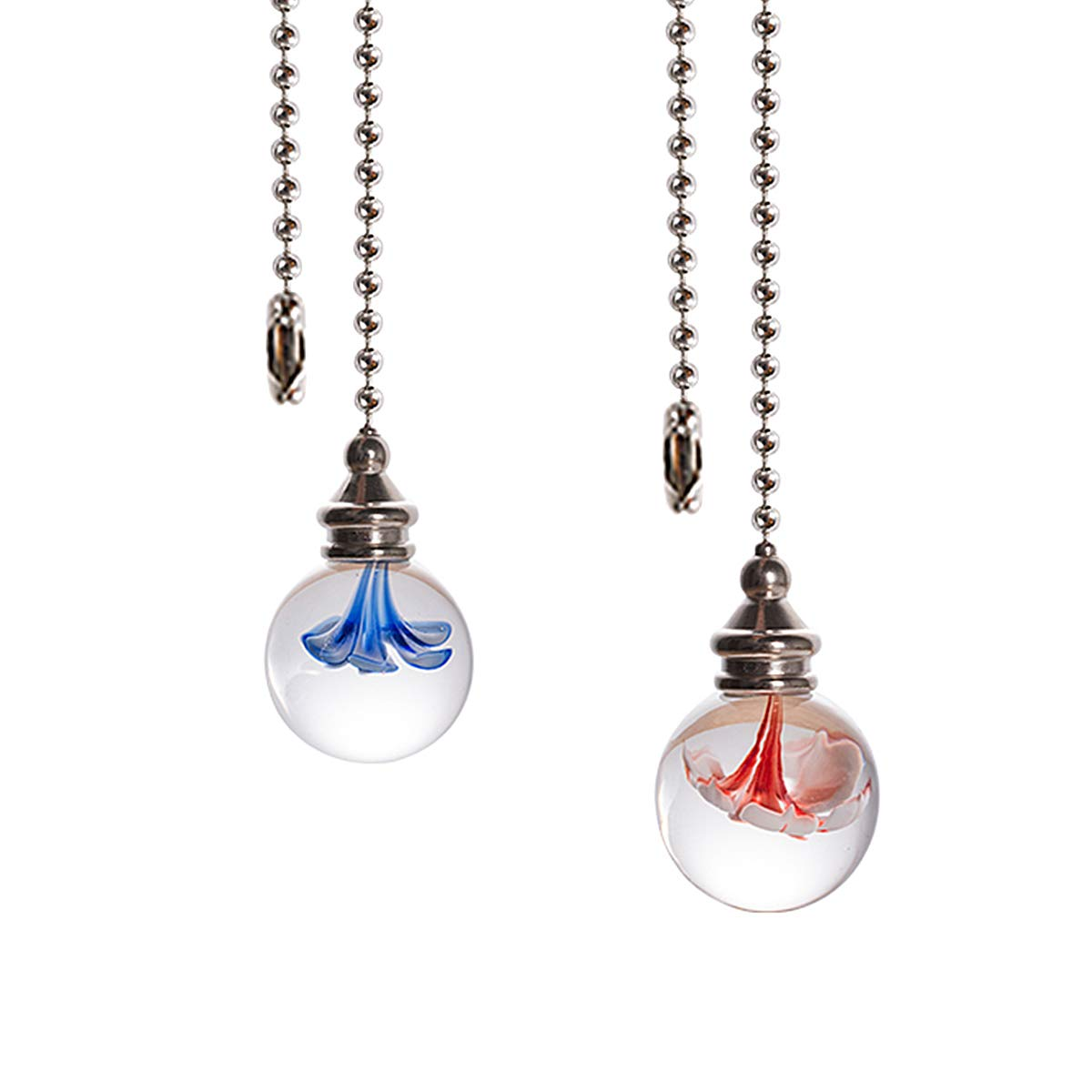 Crystal Ceiling Fan Pull Chains Hanging Flowers Pendants Prism Pack Of 2 Light Blue by LONGSHENG Pull Chains