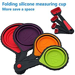 Generic Portable Silicone Measuring Cups & Spoons, 4-Piece Set Folding , For Travel,Pet Supplies of outdoor,Long Trip,Camping,4 sizes