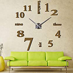 Mirror Surface Decorative Clock 3D DIY Wall Clock Living Room Bedroom Office Hotel Wall Decoration (Coffee)