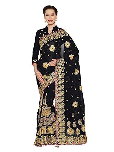 - Sourbh Mirchi Fashion Women's Faux Georgette Bridal Wedding Saree (4076_Black)