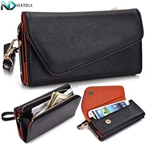 Bloutina Wallet and Phone Case for Jitterbug Touch 2 [Black / Burnt Orange] Wristlet Clutch <b>+ a Complimentary NextDia...