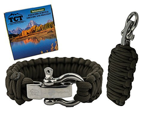 8.5' Stainless Steel Bracelet (The Camping Trail Paracord Grenade And Paracord Bracelet Set, OD Green)