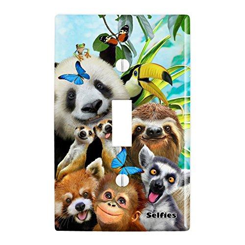 GRAPHICS & MORE Zoo Animals Selfie Panda Bear Sloth Meercat Monkey Lemur Plastic Wall Decor Toggle Light Switch Plate Cover