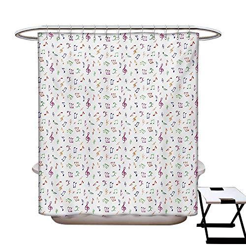 BlountDecor Music Shower Curtains Sets Bathroom Watercolor Icons Sonic Beats Vocals Dynamic Cultural Activity Concert Harmony Artwork Satin Fabric Sets Bathroom W69 x L70 Multicolor]()