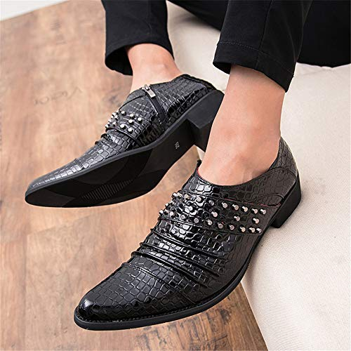 Formal Rivet Nero Uomo Oxford Anake Color 41 Nero Personalizzato Scarpe Casual Business Pattern Dimensione Shoes Moda Men's Pelle EU USq8F8