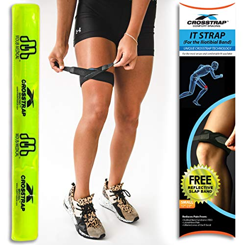 CROSSTRAP IT Band Strap | Illiotibial Band Support for Running, Cycling, Hiking and Sports (Black, 1 Pack (Small))