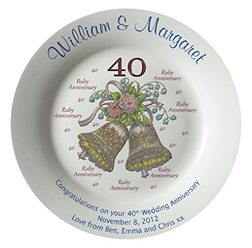 Heritage Pottery Personalized Bone China Commemorative Plate for A 40th Wedding Anniversary - Wedding Bells Design with A Plain Rim