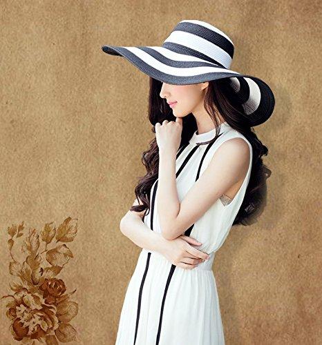 Da WA Femme Classique ray/é Noir et Blanc d/ét/é Chapeau Chapeau de Paille tress/é Chapeau de Paille Chapeau de Plage