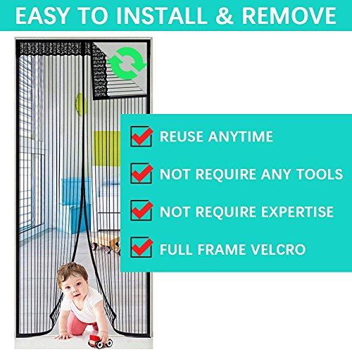 Magnetic Screen Door,Removable Screen Door with Full Frame Velcro and Heavy Duty Mesh Curtain (36''x82'') by Famirea (Image #5)