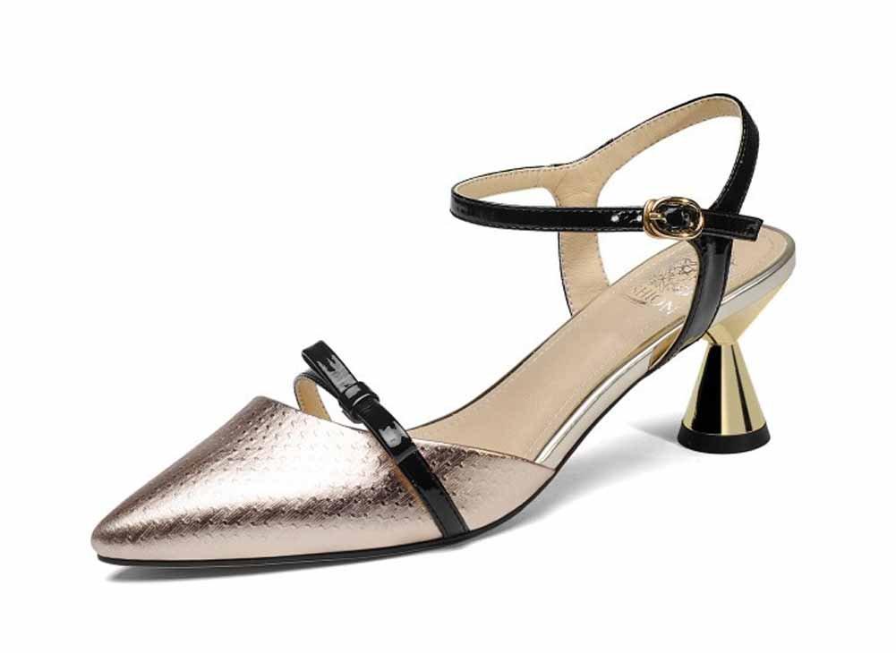 Onfly New Frauen Spitz Sandalen 2018 Sommer Neue Metall Rindsleder Vergoldete High Heel Echtes Leder Knouml;chelriemen Pumpen eu size  38|Gold
