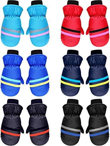 6 Pairs Kids Winter Snow Mittens Waterproof Warm Ski Gloves Unisex Gloves for Cold Weather Children