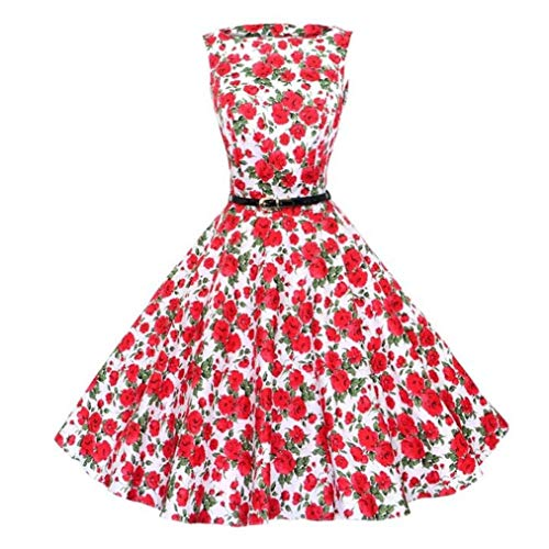 Women's Vintage Floral Sleeveless Casual Evening Dresses Swing Cocktail Party Dress for Juniors Red XX-Large