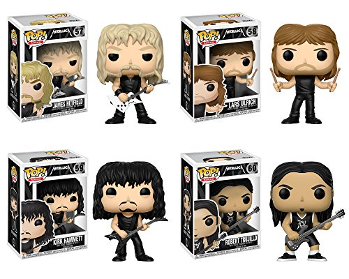 Funko POP! Metallica James Hetfield + Lars Ulrich + Kirk Hammett + Robert Trujillo - Heavy Metal Band Vinyl Figure Set NEW