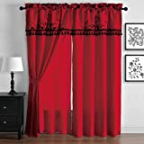 Violeta RED Window / Curtain Set Faux Silk Curtain Back Floral Flocking Panels