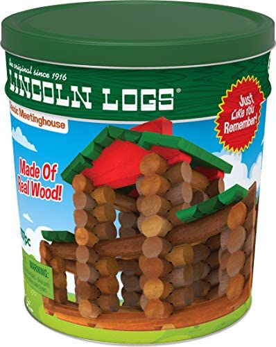 LINCOLN LOGS – Classic Meetinghouse – 117 Parts – Real Wood Logs – Ages 3+ – Collectible Tin – Best Retro Building Gift Set for Boys/Girls – Creative Construction Engineering – Preschool Education Toy