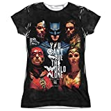 Justice League Movie Save the World Poster Women's Front Only Sublimated T Shirt
