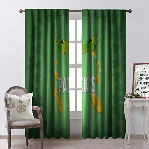 Hengshu Happy St. Patricks Day Clover Gold Co s Multicolor Window Curtain Fabric Drapes for Living Room W120 x L108