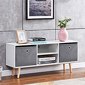 Ansley&HosHo White Media Stand with Storage, 110cm TV Stand Cabinet, Coffee Table Storage Organize Sideboard with…