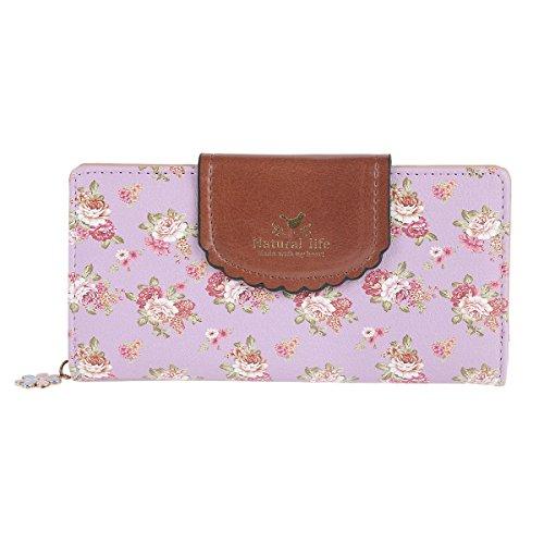 Damara Womens Patchwork Flap Clasp Expandable Zipper Wallet,Purple