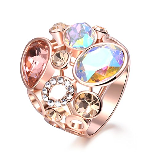 - TEMEGO Rose Gold Cocktail Rings for Women Colorful Crystal, Multi-Color CZ Statement Ring, Size 8