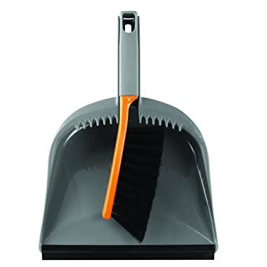 Casabella 1 Count Dustpan and Brush Set, Orange and Graphite