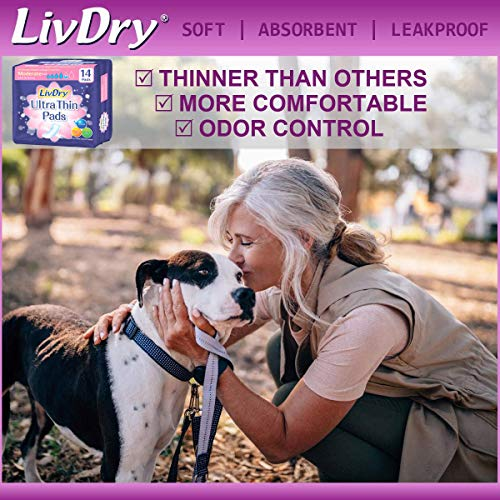 LivDry Incontinence Ultra Thin Pads for Women | Leak Protection and Odor Control | Extra Absorbent (Maximum 72-Count)