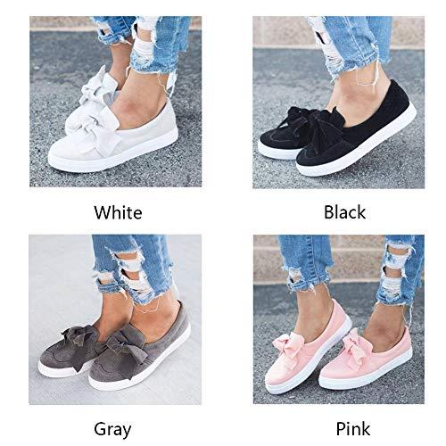 Respirant Fille Chaussures Toile Mousse Bowknot Noir Confort Blanc à Plates Femme 36 Soled Chaussures Doux en décoré mémoire décontracté Femme Ainstsk OTgaxq