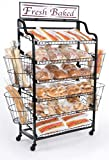 64''h Standing Baker's Rack with 6 Tilting Shelves and 4 Wire Baskets, Rolling Storage Rack with Locking Wheels and 2 Sign Holders, ''Fresh Baked'' Sign Included (Black)