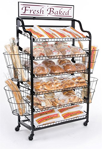 64 inchh Standing Bakers Rack with 6 Tilting Shelves and 4 Wire Baskets, Rolling Storage Rack with Locking Wheels and 2 Sign Holders,  inchFresh Baked inch Sign Included (Black)