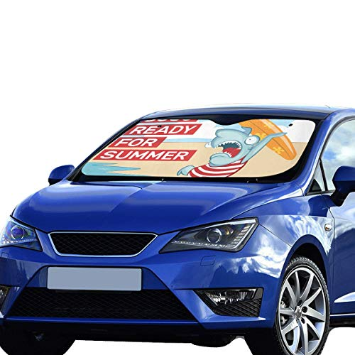JXCSGBD Car Sun Shade for Baby Surfer Shark with Surfboard Foldable Sunshade for Maximum Uv and Sun Protection Keep Your Vehicle Cool 55 X 30inch (140cm X 75cm) Cute Windshield - Surfer Surfboard Baby