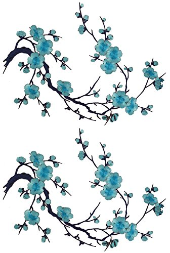 Two Asian Cherry Blossom Sakura Flower Iron on Embroidered Appliques Patch Japanese Chinese (Bright Blue)