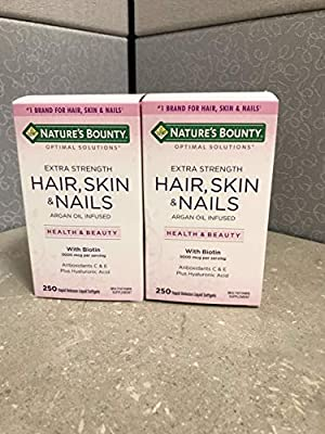 Extra Strength Hair Skin Nails, 2 Bottles (250 Count)