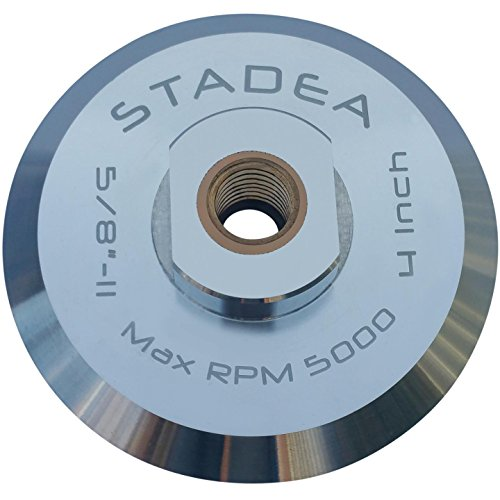 "Stadea ABP102Q 4 Inch Hook and Loop Backing Pad With Rigid Aluminium Backing, 5/8"" 11 Brass Arbor"