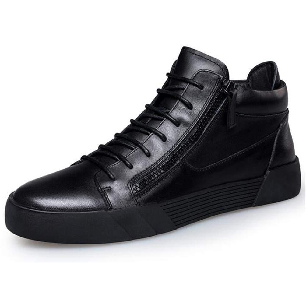 Herren Stiefel Winter Warm Plüsch Schneeschuhe Schwarz Ankle Zipper Schuhe mit Baumwolle nach innen (Farbe   Schwarz, Größe   10 UK)
