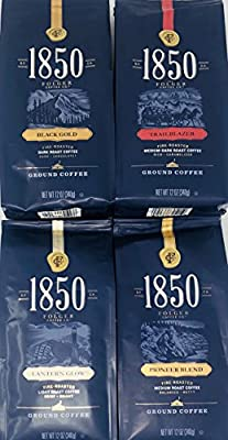 Folgers 1850 Coffee Variety Pack of 4 Flavors of Ground Coffee - Black Gold, Trailblazer, Pioneer Blend, and Lantern Glow