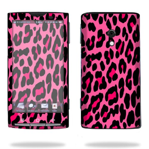 MightySkins Protective Vinyl Skin Decal Cover for Sony Ericsson Xperia X10 Cell Phone wrap sticker skins Pink Leopard