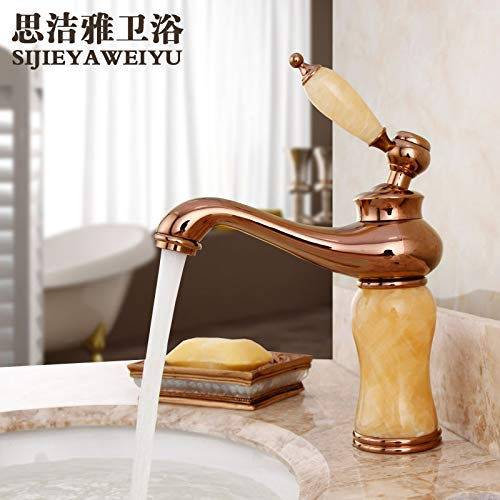 F redOOY Faucet Taps Copper Natural Jade Hot And Cold Water Faucet pink gold Marble Antique Faucet gold Faucet, Sapphire
