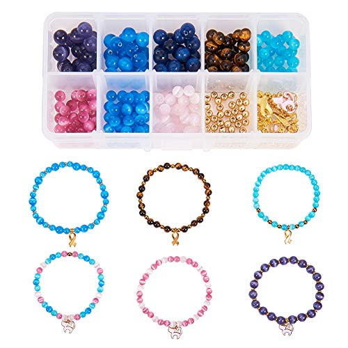 SUNNYCLUE 1 Box Assorted Cat's Eye Beads 6mm 8mm Natural Gemstone Round Loose Beads for Jewelry Making DIY Bracelets Include Charm Pendants, Elastic Wire and Big Eye Beading Needle