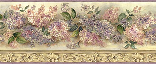 Chesapeake BBC20041B Ethel Sand Heirloom Lilacs Trail Wallpaper Border, -