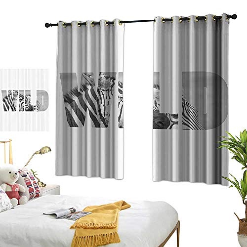 Thermal Insulated Drapes for Kitchen/Bedroom Zebra Print Decor Collection Word Wild over Zebras Picture Safari Animals Adventure Traveling Theme Art Darkening and Thermal Insulating 63