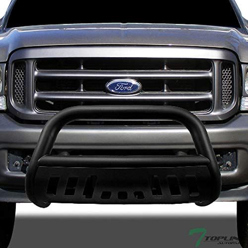 Topline Autopart Matte Black HD Heavyduty Bull Bar Brush Push Front Bumper Grill Grille Guard w/ Skin Plate 99-07 Ford F250 F350 F450 F550 Superduty / 00-05 Ford Excursion