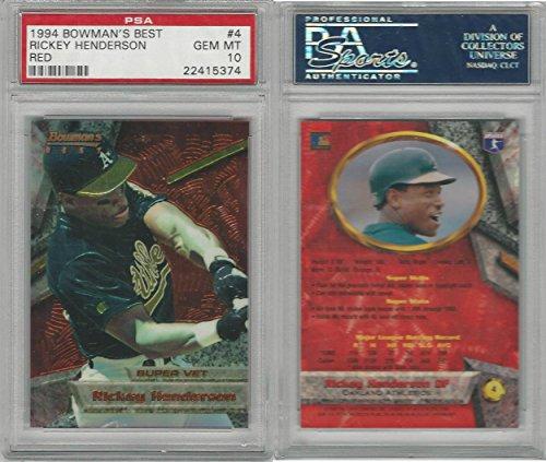 1994 Bowman Best Baseball, 4 Rickey Henderson, Athletics, PSA 10 Gem PZX