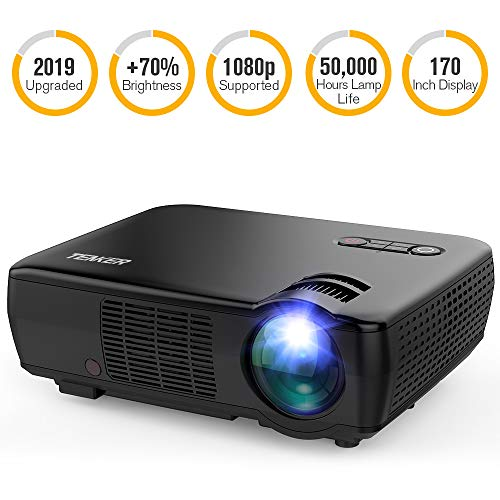 Projector, TENKER Upgrade +33% Lumens Portable Video Projector Mini Home Theater 5.0″ LCD Projector with 176″ Display Support 1080p HDMI VGA USB AV for Out door & Indoor Movie Nights, Video Games