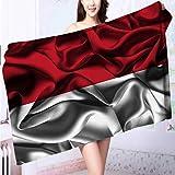 SeptSonne 100% Cotton Bath Towel Flag of INDONESIA No Fading Multipurpose L63 x W31.2 INCH