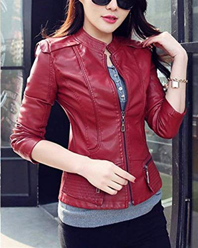 Ragazza Manica Lunga Slim Fit Donna Eleganti Similpelle Jacket Rosso Giacche Autunno Casual Fashion Corto In Colore Giacca Biker Moto Puro Giubbotto I6X4xq4wg