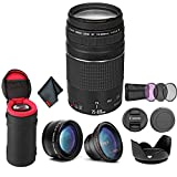 Canon EF 75-300mm f/4-5.6 III Telephoto Zoom Lens 6473A003 Bundle with Tulip Lens Hood + Wide Angle Lens + Telephoto Lens + Filter Kit+ Lens Case + More